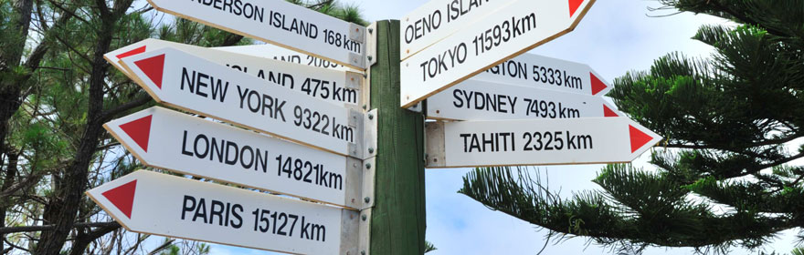 Distance post on Pitcairn Island